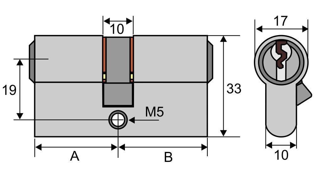 Abmessungen eines Schließzylinders