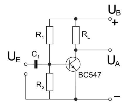 Schaltbild eines Transistorverstärkers