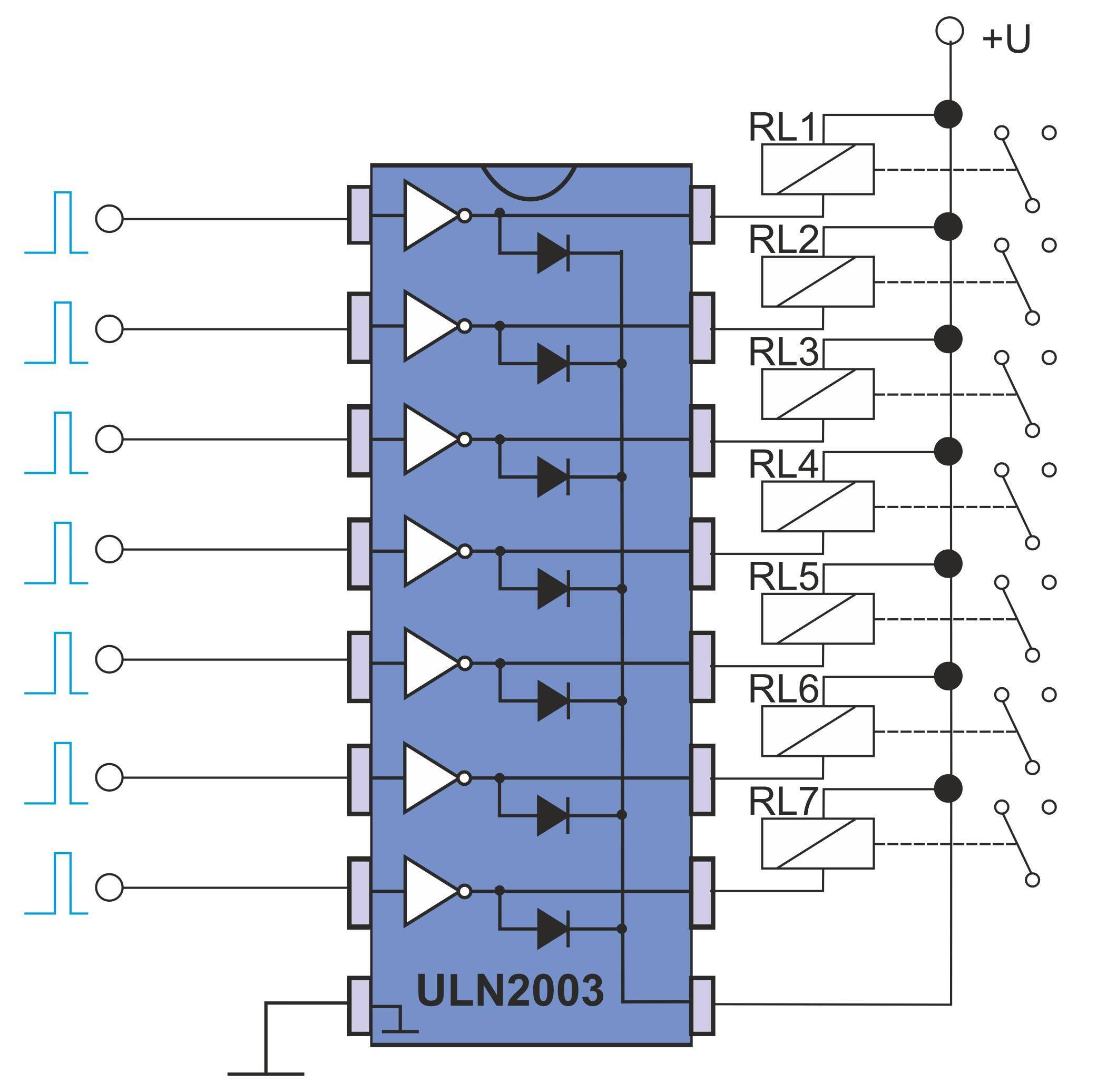 Anschluss induktiver Lasten am ULN2003