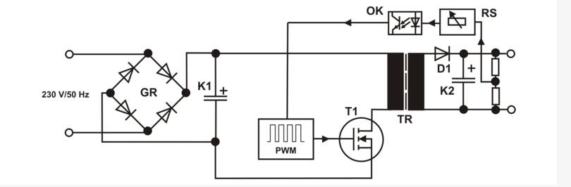 Schematic diagram of an electronic power supply or an electronic transformer