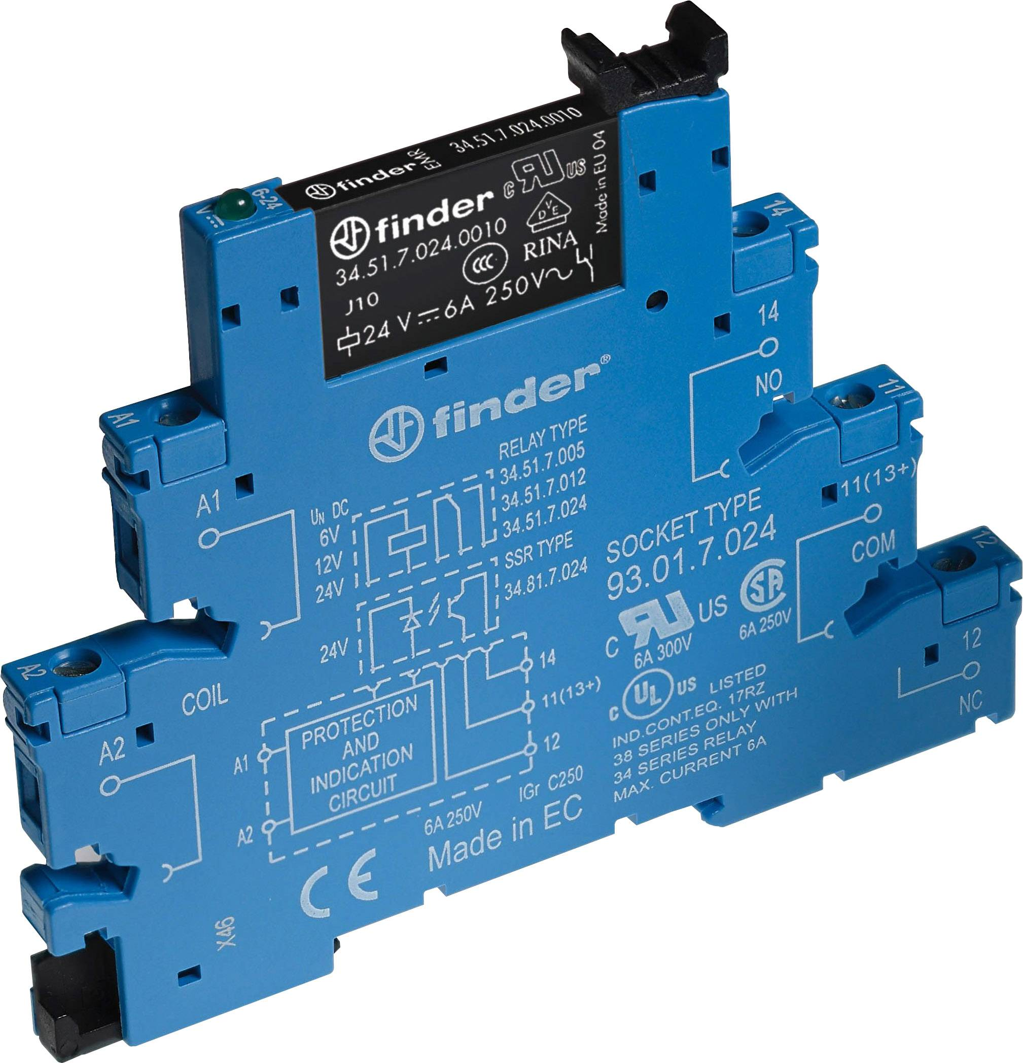 6A SCREW TERM RELAY 24VDC 38.51.7.024.0050 By FINDER