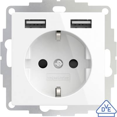 Image of 2USB 2U-449276 Flush-mount socket VDE, incl. USB, Child safety IP20 Pure white, Glossy finish