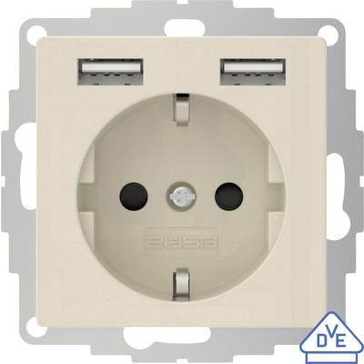 Image of 2USB 2U-449290 Flush-mount socket VDE, incl. USB, Child safety IP20 Cream-white, Glossy finish