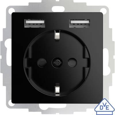2USB 2U-449313 Flush-mount socket VDE, incl. USB, Child safety IP20 Black