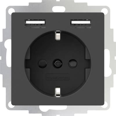 2USB 2U-449351 Flush-mount socket VDE, incl. USB, Child safety IP20 Anthracite