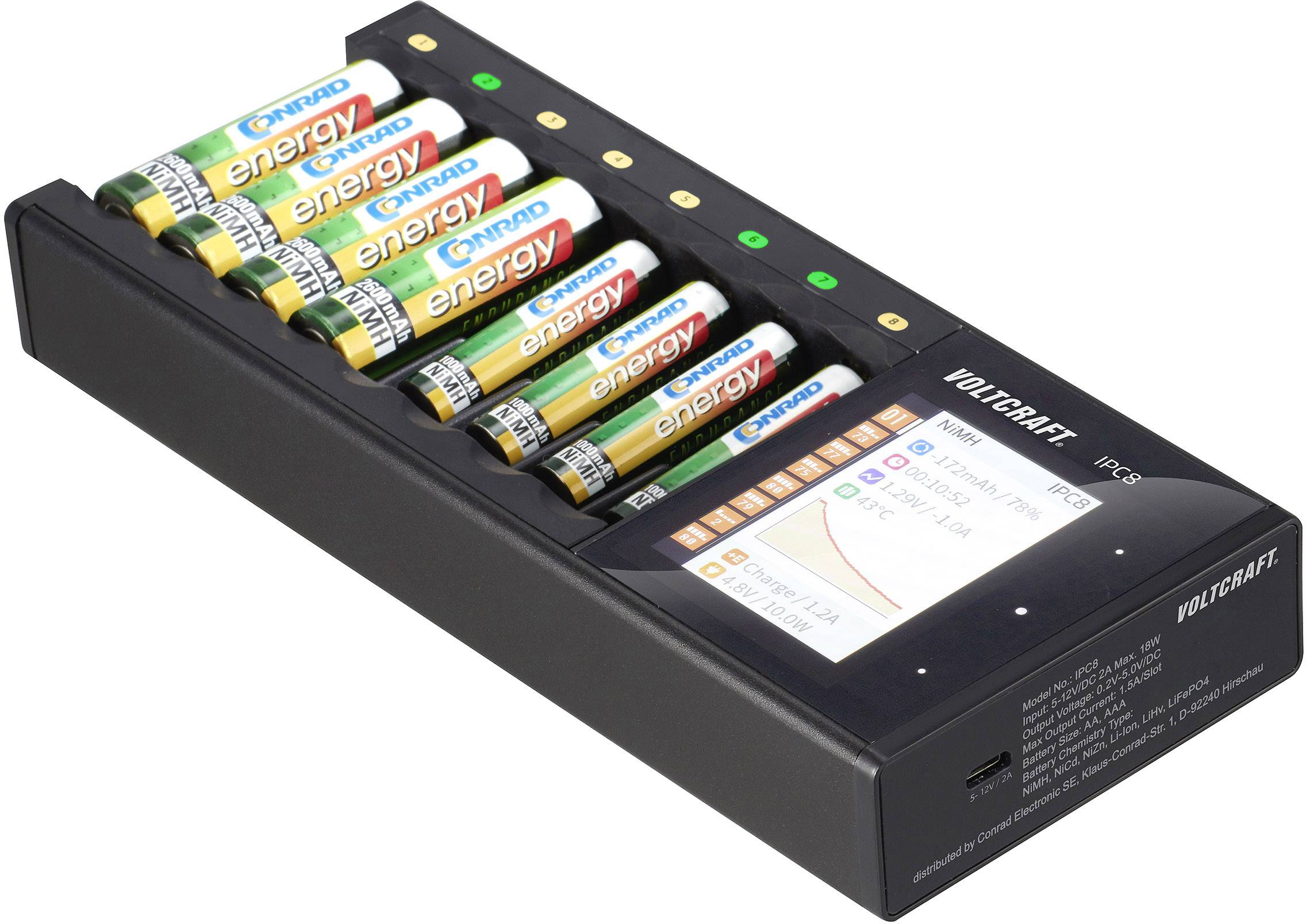 8 Slot Battery Charger For Ni-MH Ni-CD AA AAA Rechargeable Batteries Universal