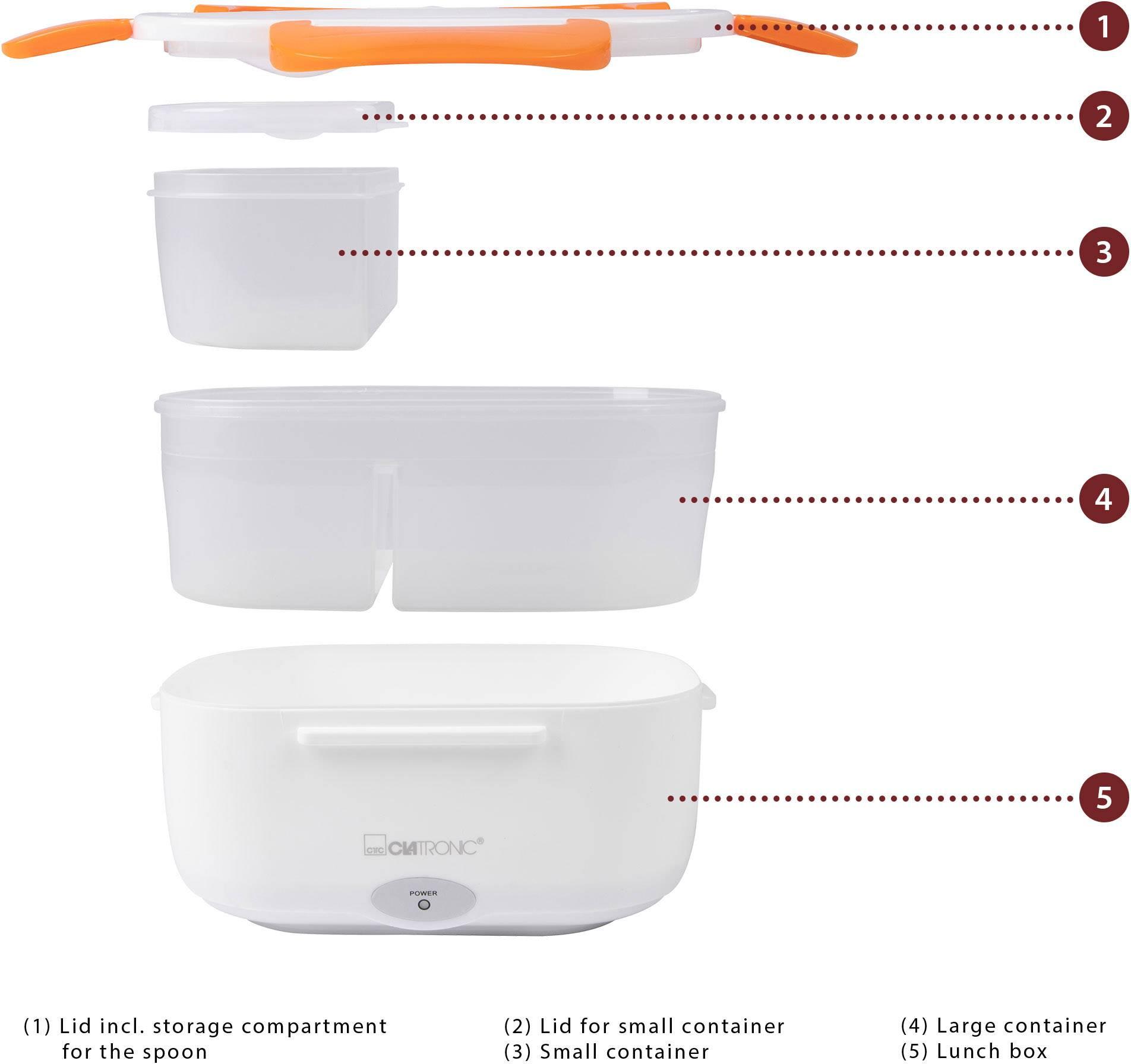 Clatronic LB 3719 263890 Electric lunchbox White, Orange   Conrad.com