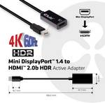 Club 3D Mini DisplayPort 1.4 to HDMI 2.0b HDR active adapter