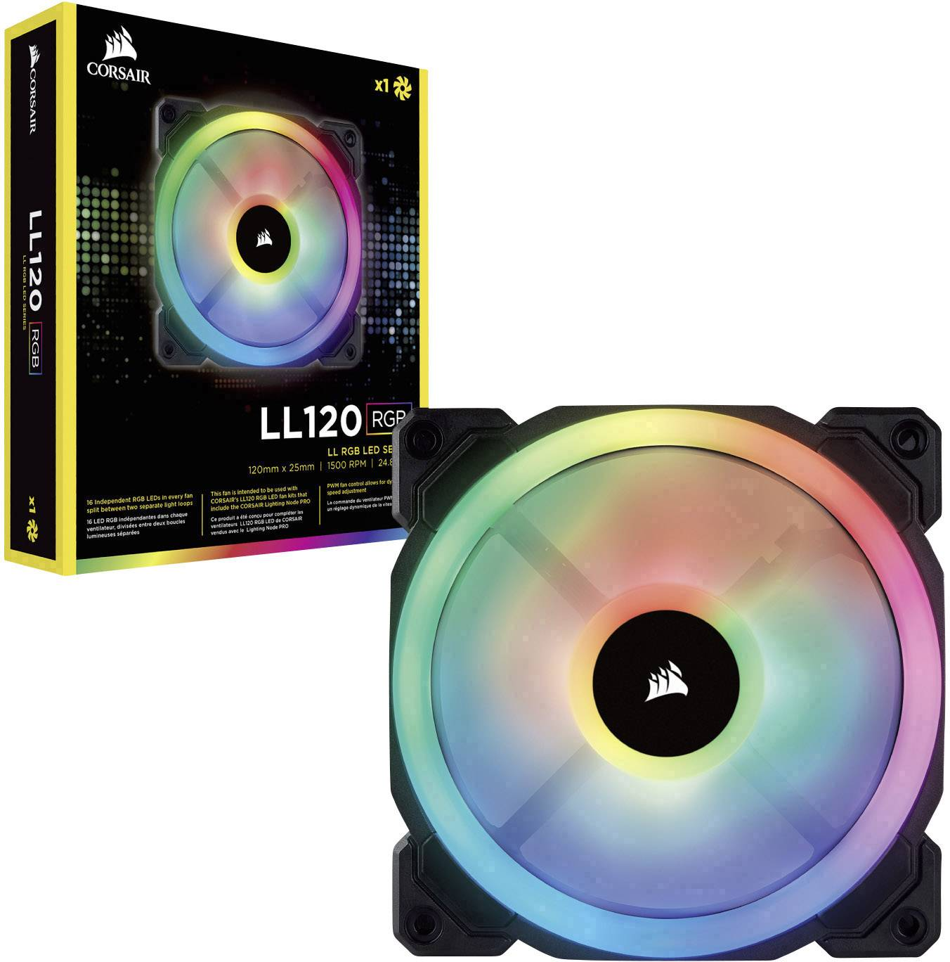 Corsair LL120 RGB Dual Light Loop PC fan Black, RGB (W x H x