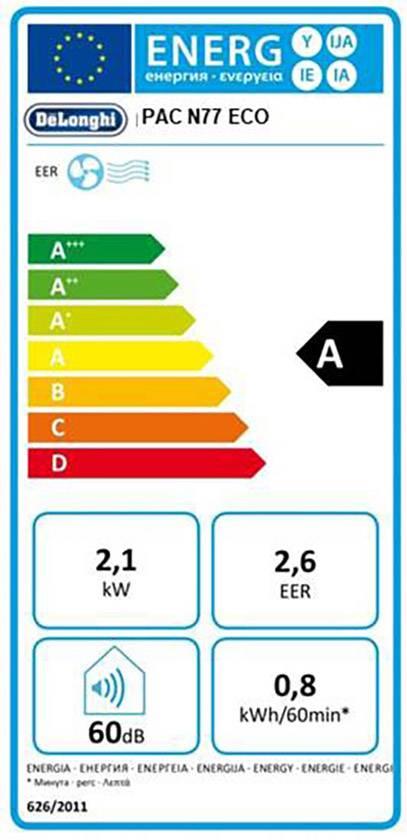 DeLonghi PAC N 77 ECO Monobloc EEC: A (A+++ - D) 2100 W 70 m³ ...