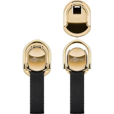 Image of Goobay Finger Strap (gold/schwarz) Mobile phone stand Black, Gold