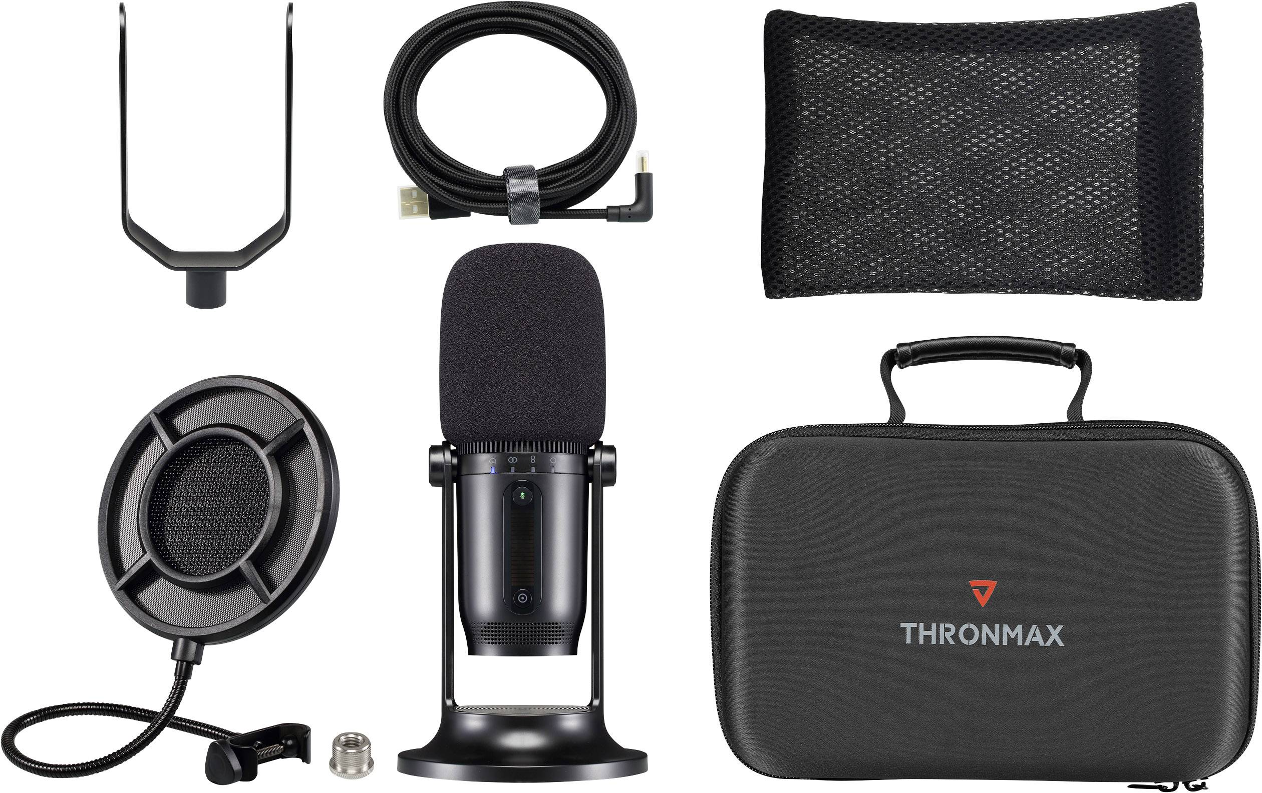Thronmax M2KIT Stand USB studio microphone Transfer type:Corded Stand,  incl. cable, incl. clip, incl. bag, incl. pop fil | Conrad.com