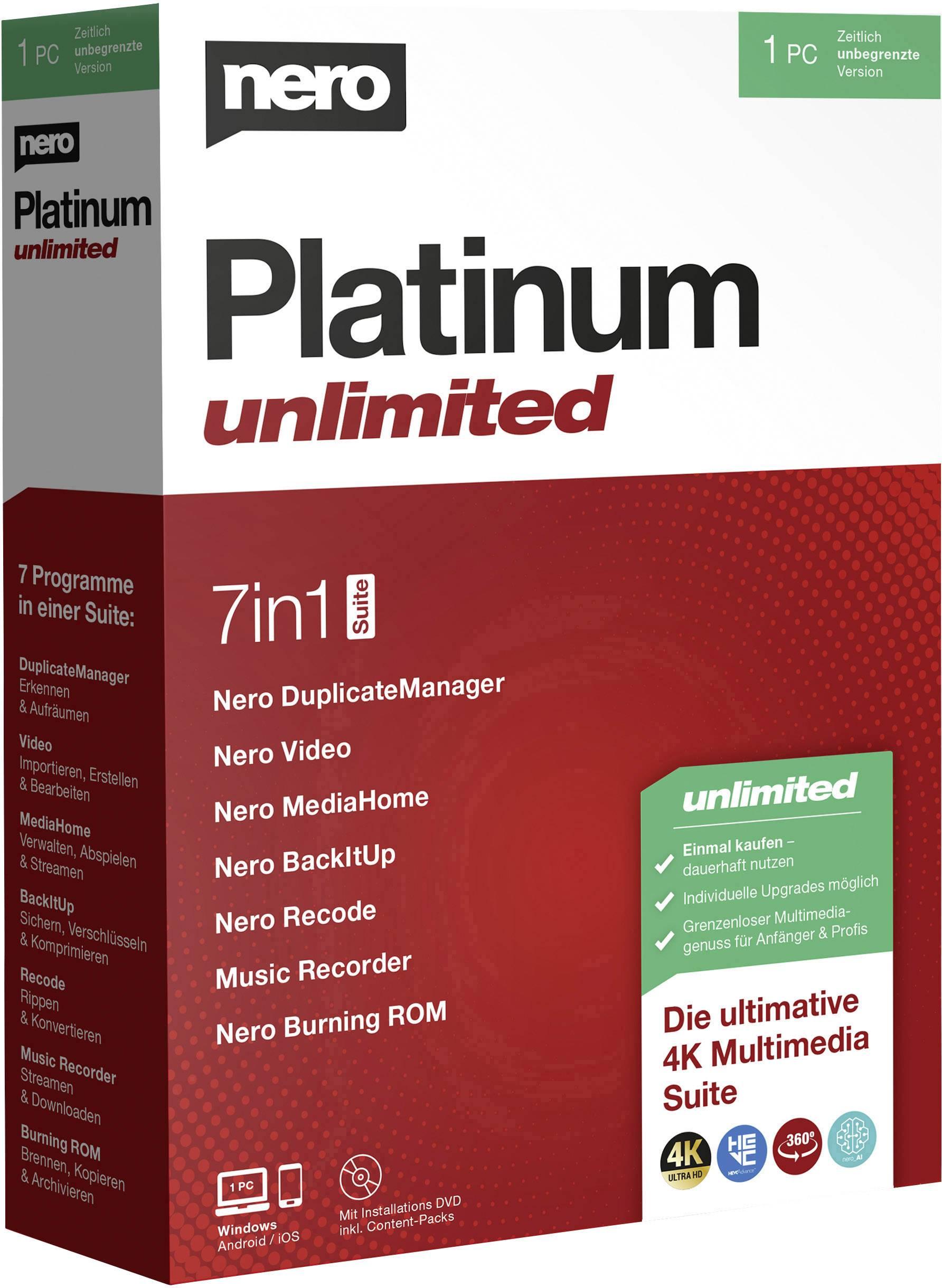 Nero Platinum Unlimited Full version, 1 license Windows CD ...