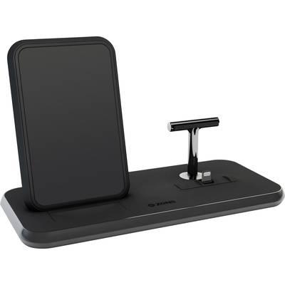 Image of ZENS Wireless charger 2000 mA Stand + Dock ZEDC06B Outputs Inductive charging standard, USB, Apple Dock lightning plug Black