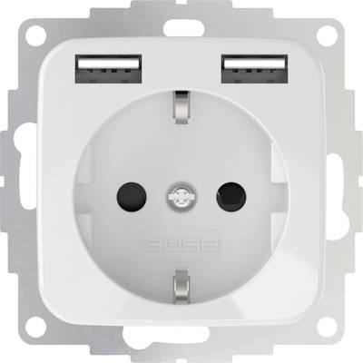 2USB 2U-449375 Flush-mount socket incl. USB Pure white (glossy)