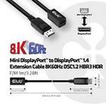 club3D Mini DisplayPort™ to DisplayPort™ 1.4 extension cable 8K60Hz DSC1.2 HBR3 HDR B/St 1m