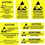 Quadrios ESD sheet label warning German