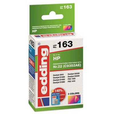 Image of Edding Ink cartridge replaced HP HP22 (C9352AE) Compatible Single Cyan, Magenta, Yellow EDD-163 18-163
