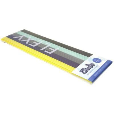 Image of 3Doodler FLX-MIX1 Retro Flexy Filament pack PLA, Flexible Flexible 1.75 mm 71 g Yellow, Grey, Light grey, Turquoise, Dark grey 25 pc(s)