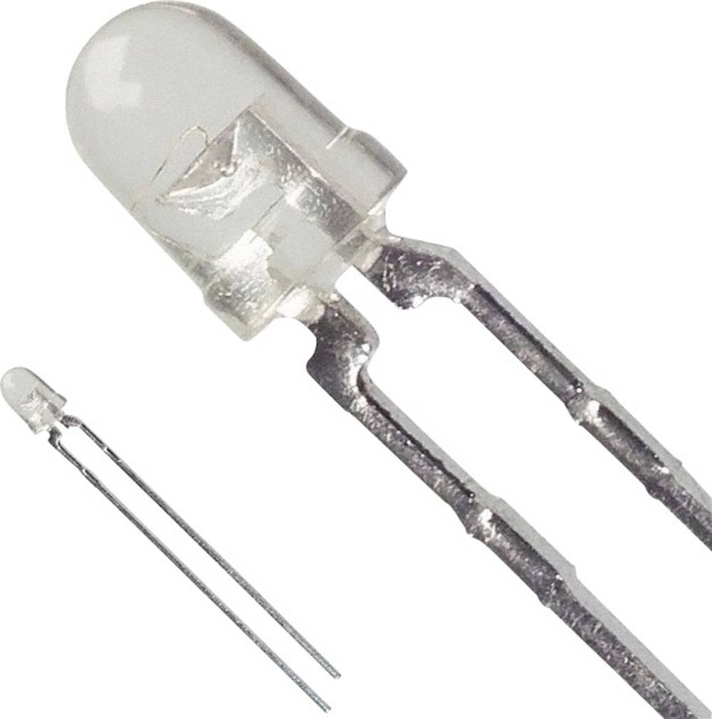 LED med ledninger Broadcom 3 mm 45 mcd 24 ° 20 mA 2.1 V Gul