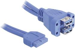 USB 3.0 Anslutningskabel Delock [1x USB 3.0 intern 19-polig hona - 2x USB 3.0 A hona] UL-certifierad 0.45 m Blå