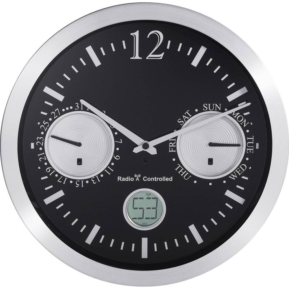 Renkforce radijski kontrolirani zidni sat s datumom (promjer x D) 30 cm x 4.7 cm aluminij 12112BS-D