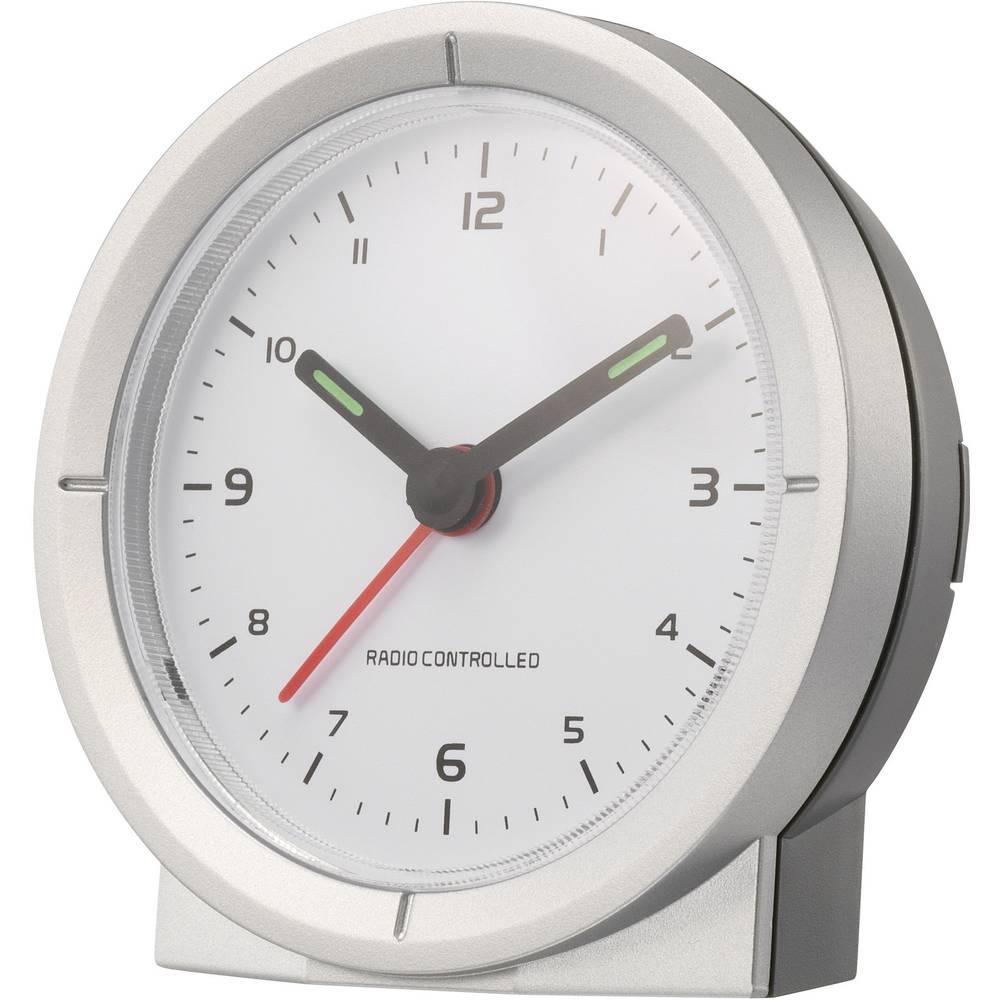 Radijski kontrolirana budilica, boja kućišta: srebrna, boja brojčanika: bijela (Š x V x D) 79 x 79 x 30 mm Renkforce