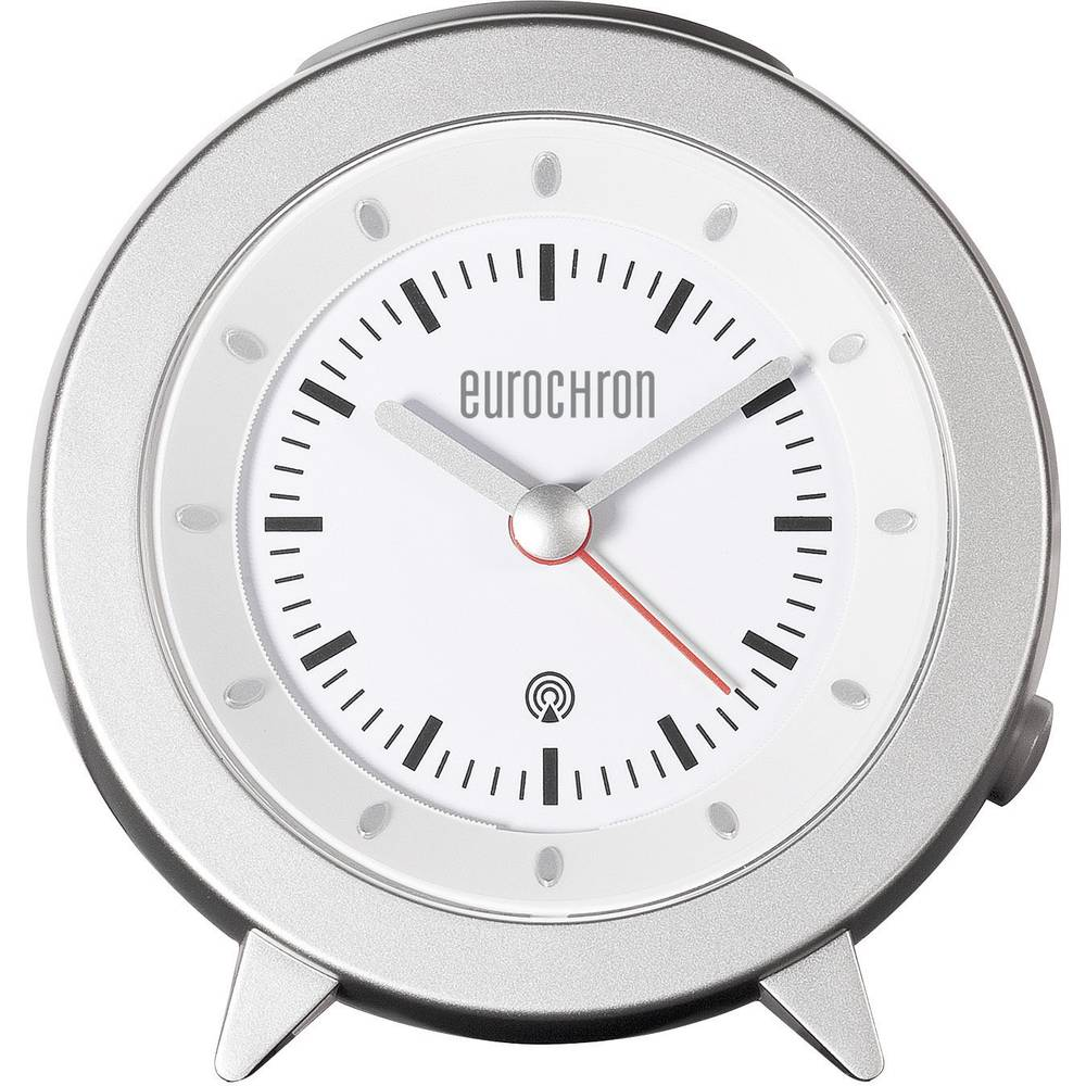 Radijski kontrolirana budilica, boja kućišta: srebrna, boja brojčanika: bijela (Š x V x D) 101 x 103 x 55 mm Eurochron