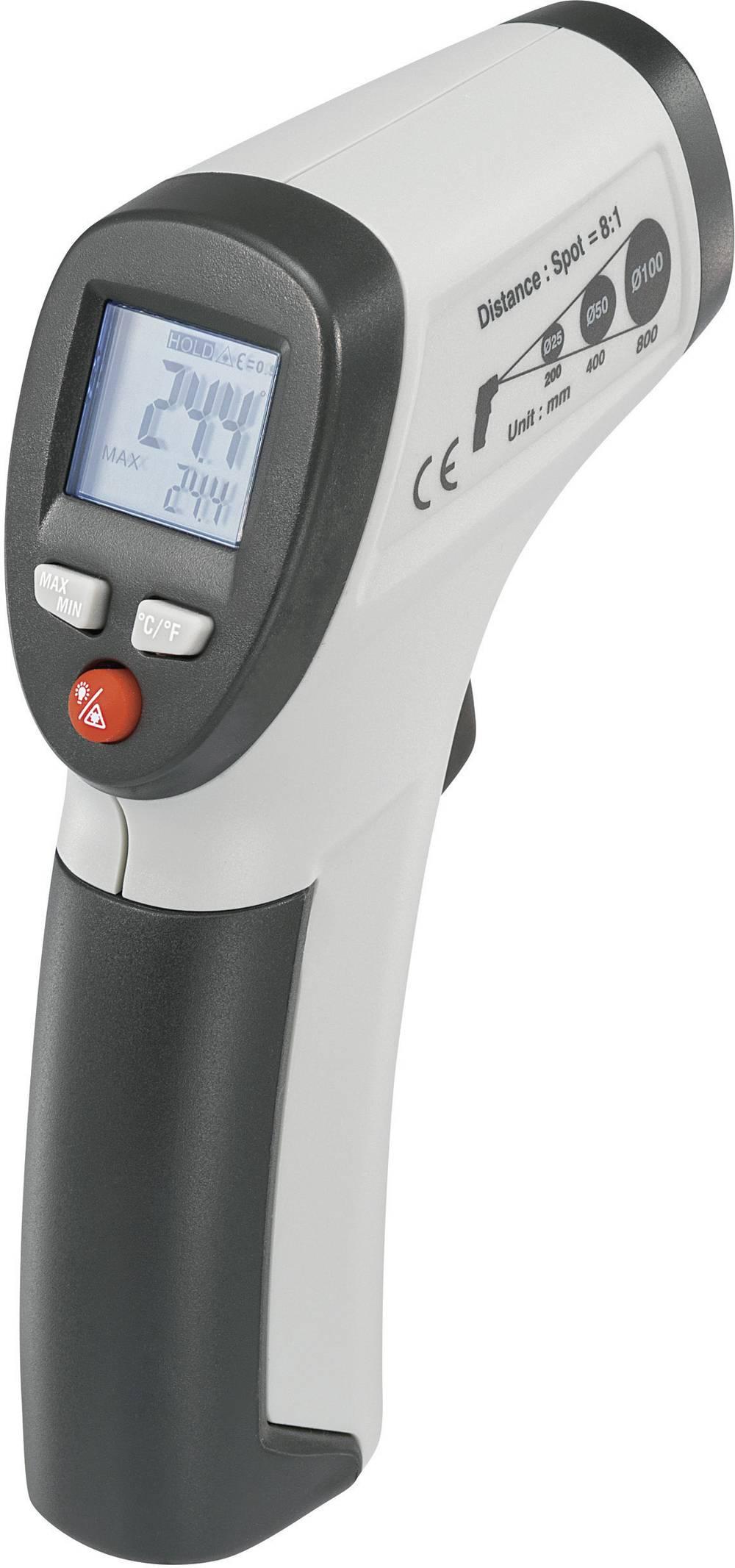 Infrardeči termometer VOLTCRAFT IR 500-8S optika 8:1 -50 do +500 °C pirometer, kalibracija narejena po: delovnih standardih