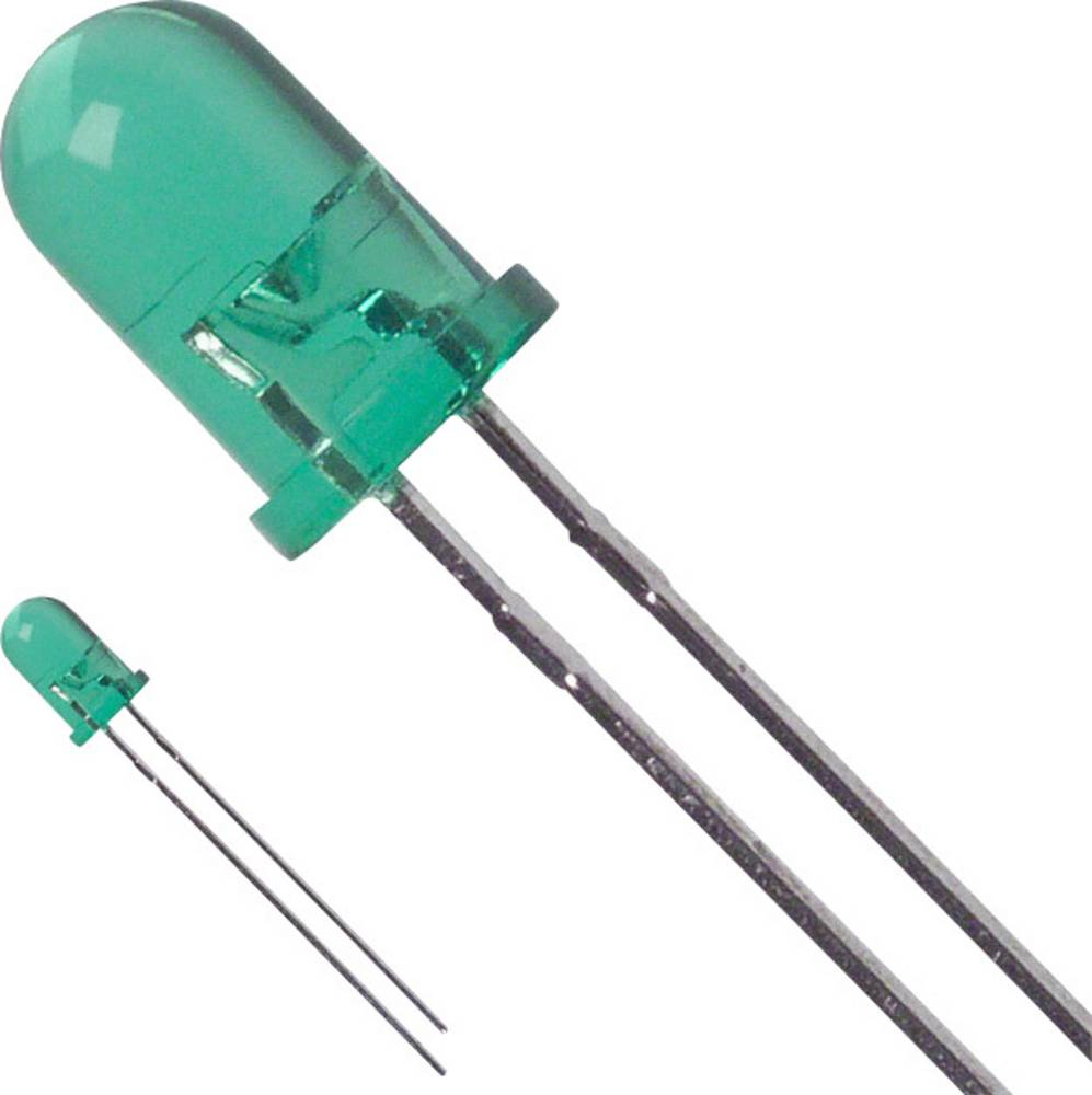 LED med ledninger LUMEX 5 mm 50 mcd 30 ° 25 mA 2.2 V Grøn