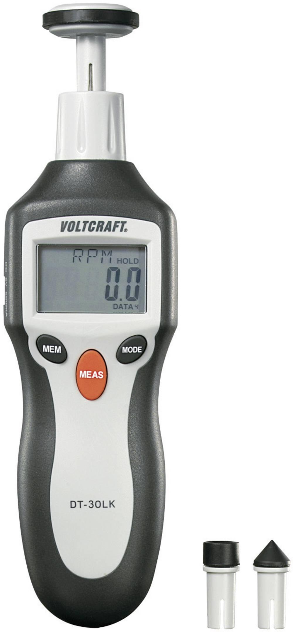 VOLTCRAFT® DT-30LK digitalni ročni merilnik vrtljajev 2 - 200000 U/min, laserski merilnik vrtljajev, števec razdalje kalibri