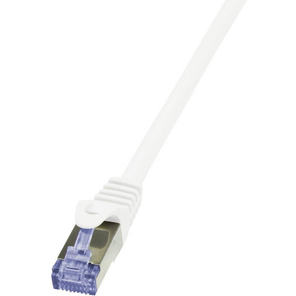 RJ45 mrežni kabel CAT 6A S/FTP [1x RJ45 utikač - 1x RJ45 utikač] 7.50 m bijeli nezapaljivi, zaštićeni CQ3081S LogiLink