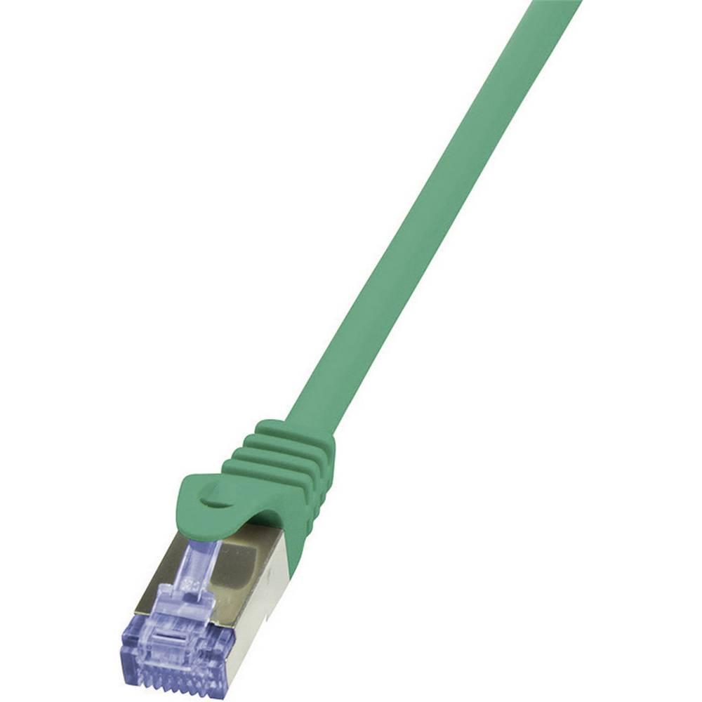 RJ45 mrežni kabel CAT 6A S/FTP [1x RJ45 utikač - 1x RJ45 utikač] 0.50 m zeleni nezapaljivi, zaštićeni CQ3025S LogiLink