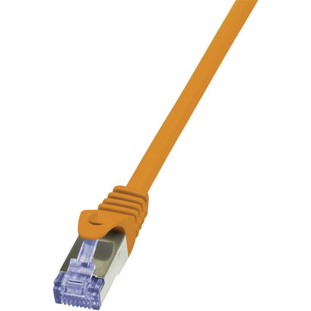 RJ45 omrežni priključni kabel CAT 6A S/FTP [1x RJ45-vtič - 1x RJ45-vtič] 2 m oranžne barve negorljiv, z Rastnasenschut