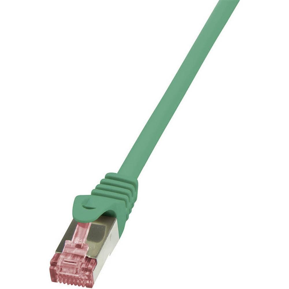 RJ45 mrežni kabel CAT 6A S/FTP [1x RJ45 utikač - 1x RJ45 utikač] 1.50 m zeleni nezapaljivi, zaštićeni CQ2045S LogiLink