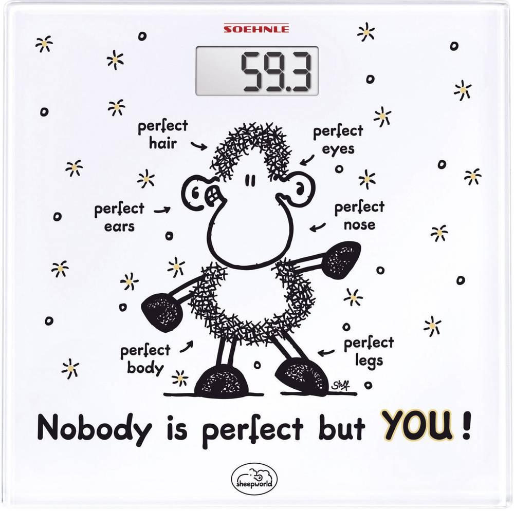 Digitalna osebna tehtnica Soehnle Sheepworld Nobody is perfect but YOU območje tehtanja (maks.)=180 kg bela