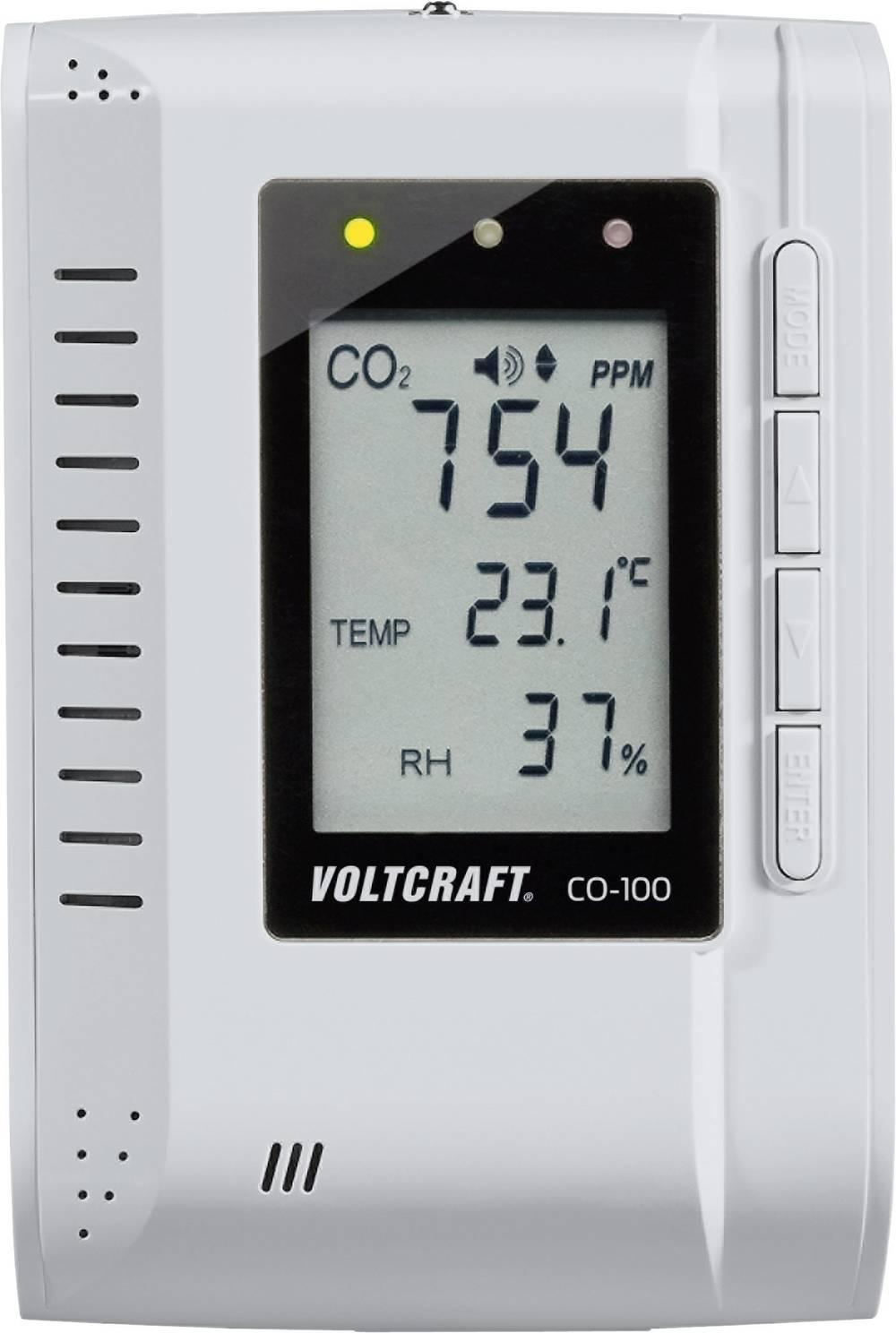 Merilnik ogljikovega dioksida VOLTCRAFT CO-100 0 - 3000 ppm z zapisovalnikom podatkov, stenska montaža