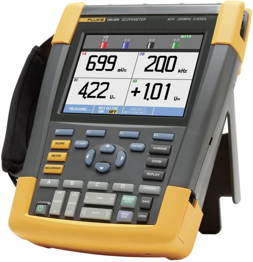Ročni osciloskop (Scope-Meter) Fluke 190-204/EU 200 MHz 4-kanalni, 2.5 GSa/s 10 kpts 8 Bit digitalni pomnilnik (DSO), tester kom