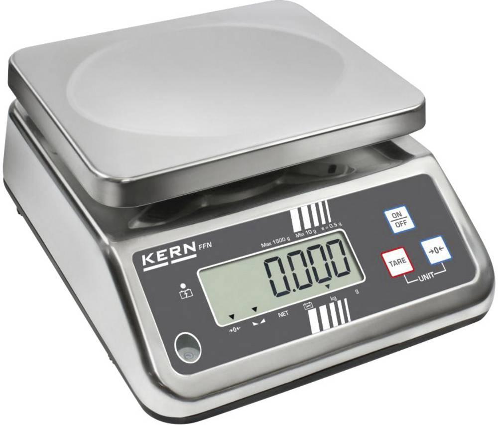 Namizna tehtnica Kern FFN 15K2IPN tehtanje do maks. 15 kg, natančnost 2 g omrežno napajanje, akumulatorsko napajanje srebrne bar