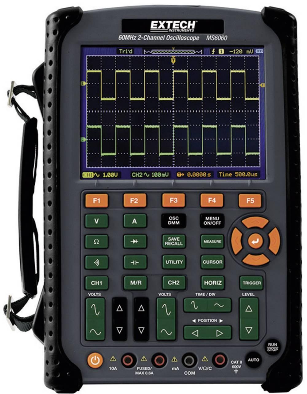 Ročni osciloskop (Scope-Meter) Extech MS6060 60 MHz 2-kanalni 500 MSa/s 512 kpts 8 Bit digitalni pomnilnik(DSO), multi-meterska