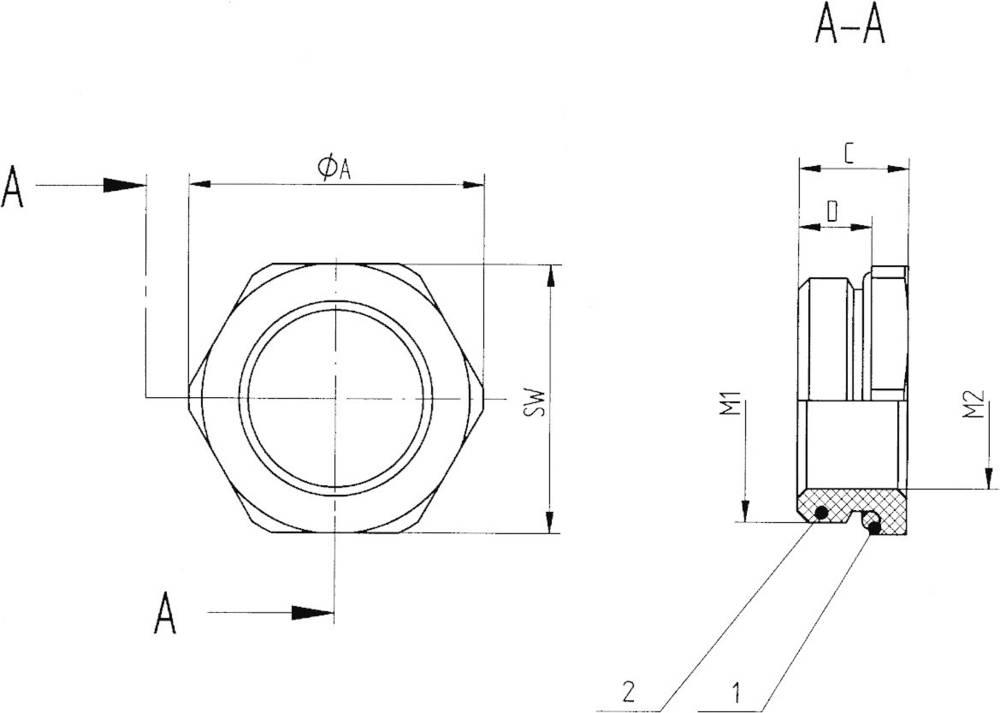 Kabelska uvodnica, reducirni nastavek z O obročem M20 M16 medenina, naravna barva LappKabel SKINDICHT MR-M 6KT. 20X1,5/16X1,5 50