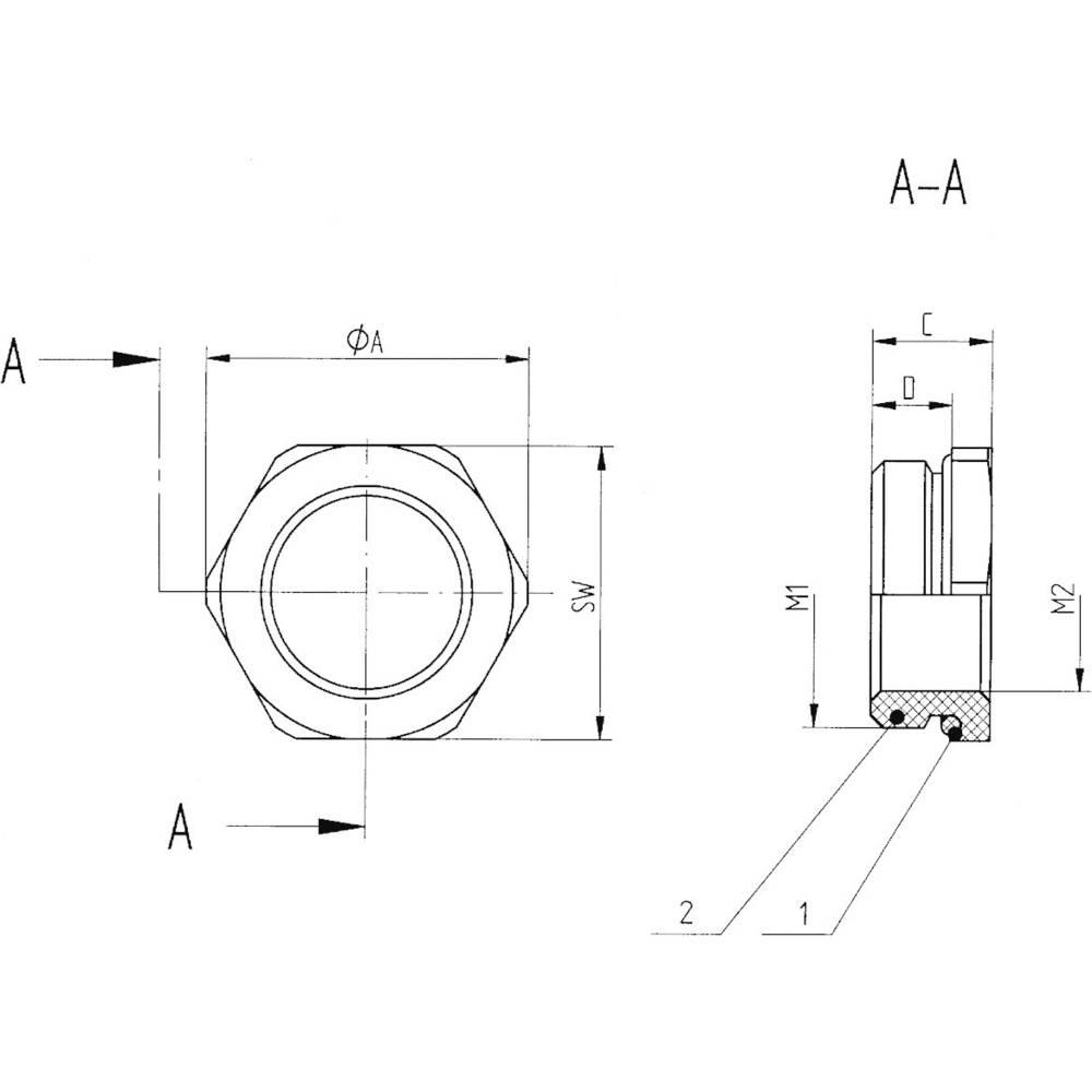 Kabelska uvodnica, reducirni nastavek z O obročem M50 M40 medenina, naravna barva LappKabel SKINDICHT MR-M 6KT. 50X1,5/40X1,5 5