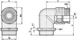 Kabelska uvodnica, kutna PG11 tlačni lijev prirodne boje LappKabel SKINDICHT® RWV PG 11 25 kom.
