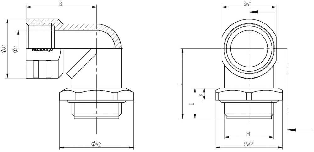 Vinkelforskruning LappKabel SKINDICHT® RWV-M 25X1,5 O. E+D M25 Trykstøbt Natur 10 stk
