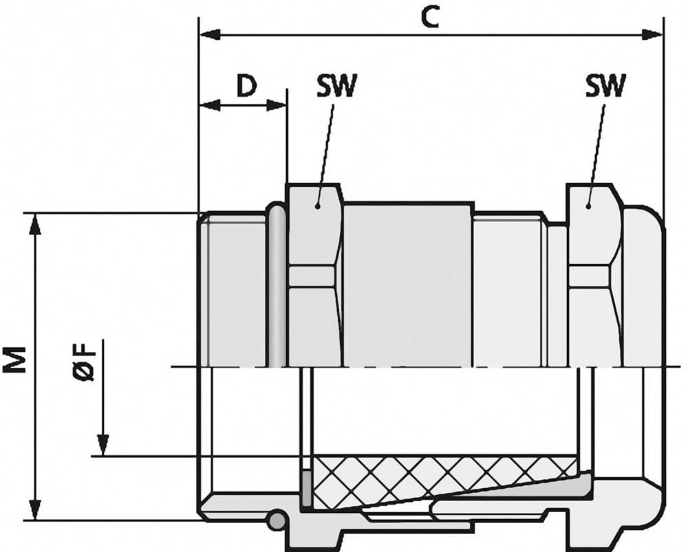 Kabelska uvodnica M25 medenina, naravna barva LappKabel SKINDICHT SHV-M-VITON 25X1,5/21/18 25 kosov