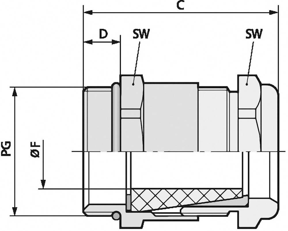 Kabelska uvodnica PG13.5 medenina, naravna barva LappKabel SKINDICHT SHV-VITON PG 13/11/9 25 kos