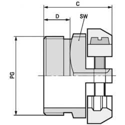 Kabelforskruning LappKabel SKINDICHT® SK PG 11 PG11 Messing Messing 50 stk
