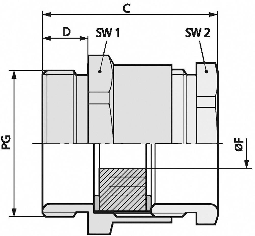 Kabelska uvodnica PG16 medenina, naravna barva LappKabel SKINDICHT SVRE PG 16 50 kosov