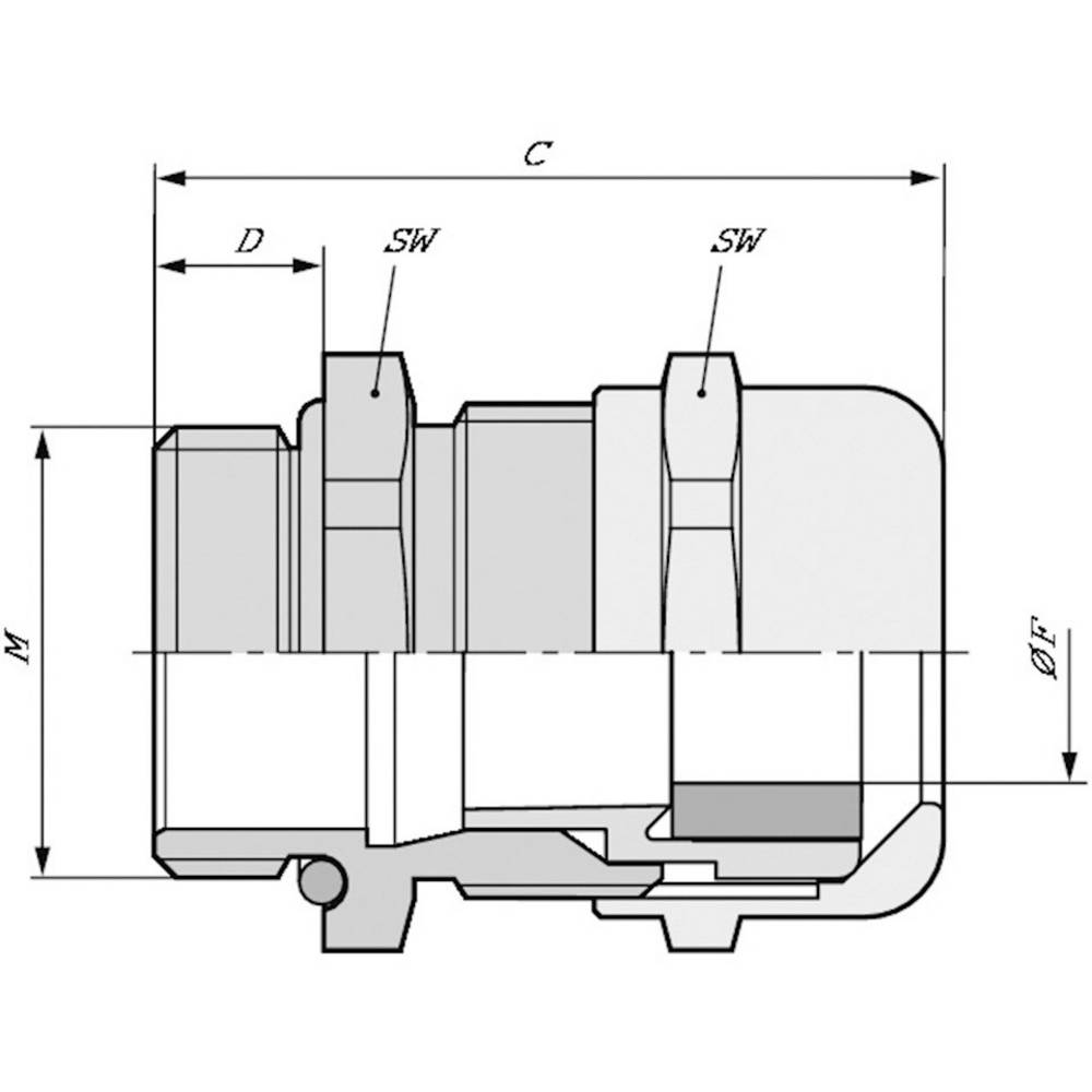 Kabelska uvodnica M50 medenina, naravna barva LappKabel SKINTOP MSR-M-XL 50X1,5 5 kosov