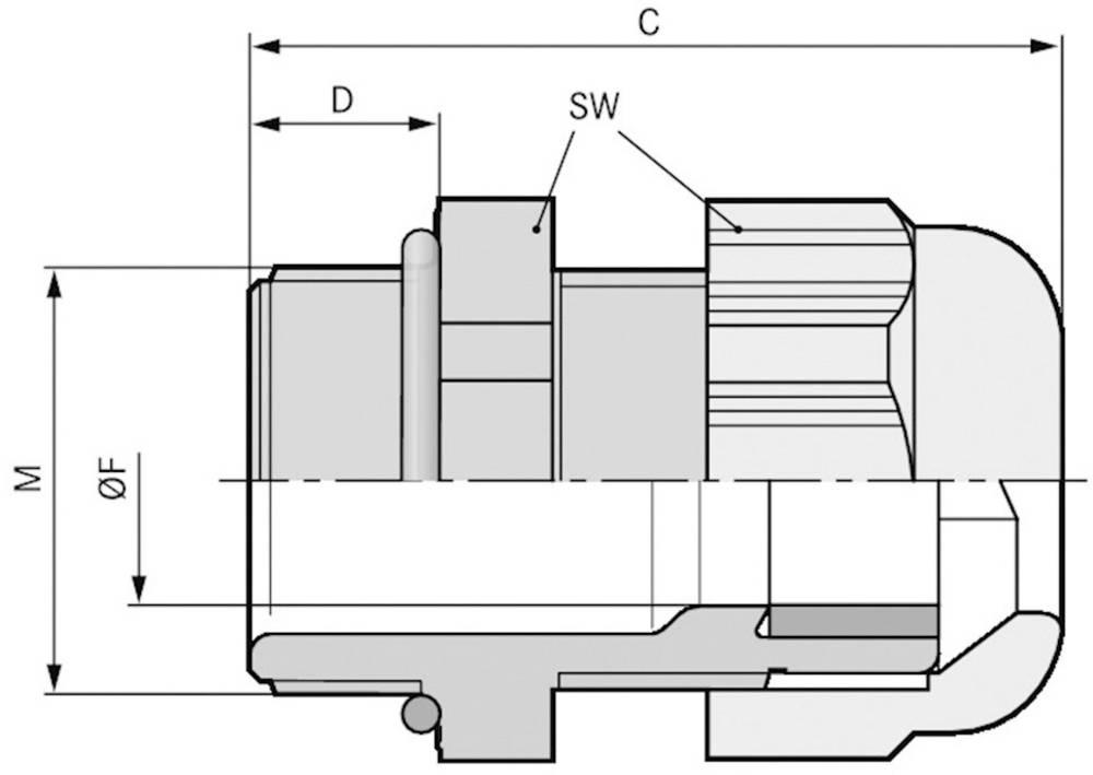 Kabelska uvodnica M32 poliamid, svetlo sive barve (RAL 7035) LappKabel SKINTOP ST-HF-M 32X1,5 RAL 7035 LGY 25 kosov